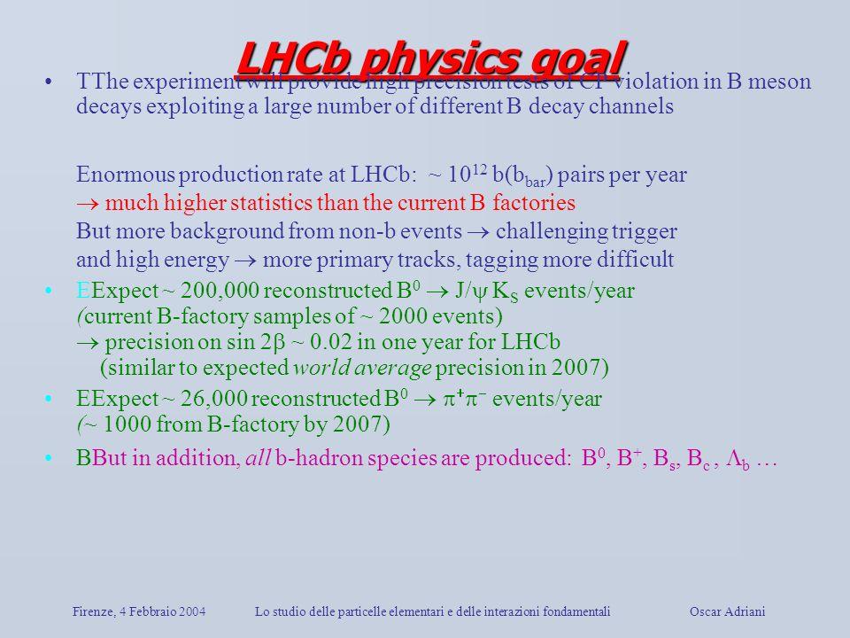 Firenze, 4 Febbraio 2004Lo studio delle particelle elementari e delle interazioni fondamentali Oscar Adriani LHCb physics goal TThe experiment will pr