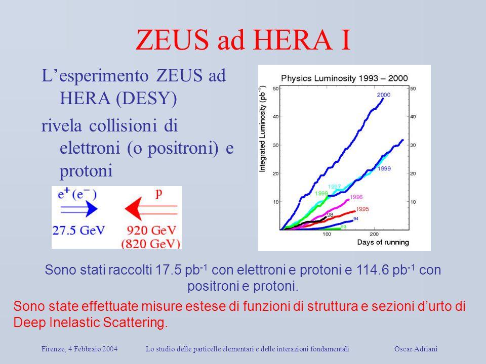 Firenze, 4 Febbraio 2004Lo studio delle particelle elementari e delle interazioni fondamentali Oscar Adriani ZEUS ad HERA I Lesperimento ZEUS ad HERA