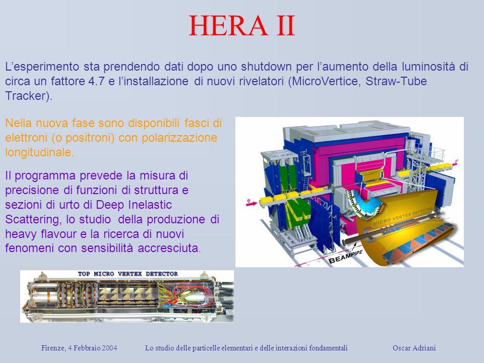 Firenze, 4 Febbraio 2004Lo studio delle particelle elementari e delle interazioni fondamentali Oscar Adriani HERA II Lesperimento sta prendendo dati d