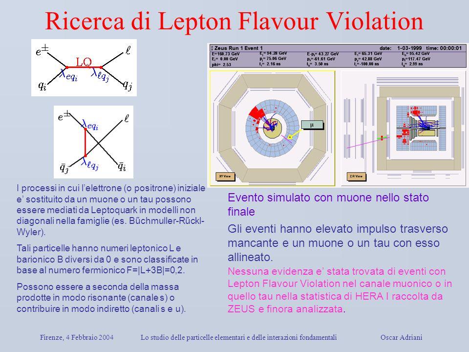Firenze, 4 Febbraio 2004Lo studio delle particelle elementari e delle interazioni fondamentali Oscar Adriani Ricerca di Lepton Flavour Violation I pro