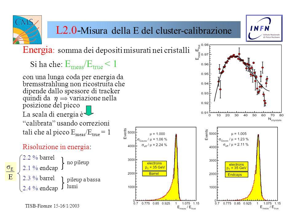 TISB-Firenze 15-16/1/2003 N. De Filippis16 Back up
