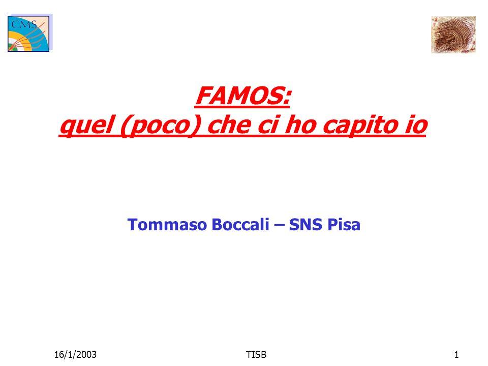 16/1/2003TISB2 FAMOS: cosa è Perché utilizzarlo Tracker: cosa esiste Tracker: cosa manca Le nostre analisi sono compatibili con FAMOS.