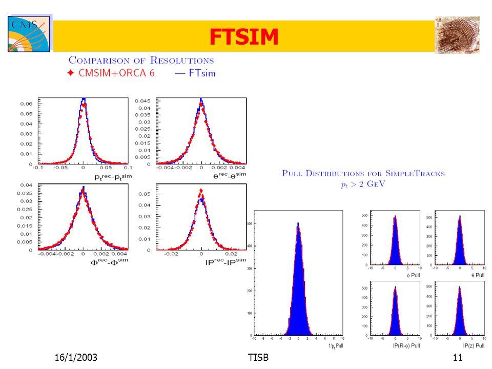 16/1/2003TISB11 FTSIM