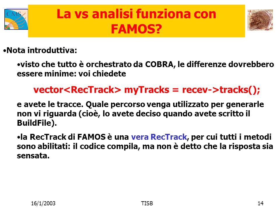 16/1/2003TISB14 La vs analisi funziona con FAMOS.