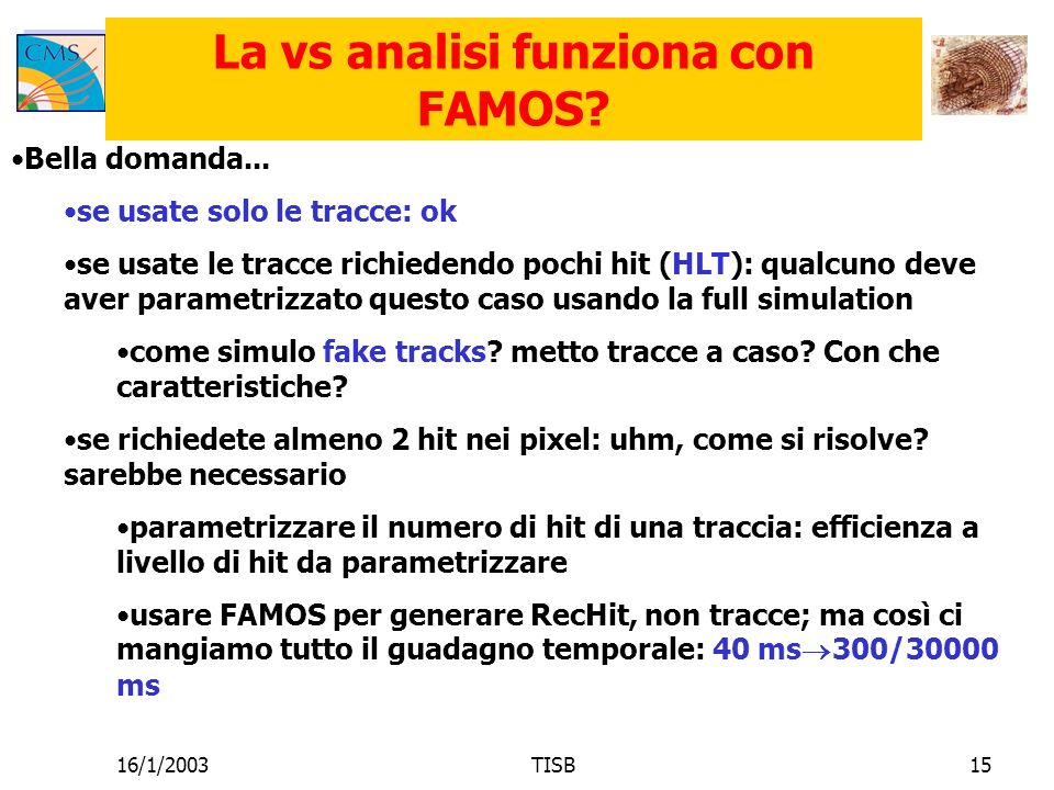 16/1/2003TISB15 La vs analisi funziona con FAMOS. Bella domanda...