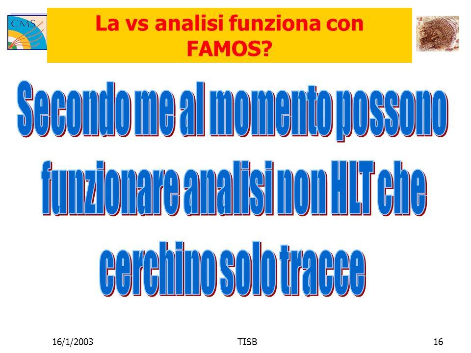 16/1/2003TISB16 La vs analisi funziona con FAMOS