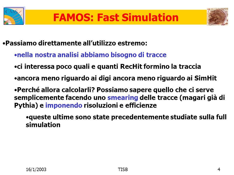 16/1/2003TISB4 FAMOS: Fast Simulation Passiamo direttamente allutilizzo estremo: nella nostra analisi abbiamo bisogno di tracce ci interessa poco quali e quanti RecHit formino la traccia ancora meno riguardo ai digi ancora meno riguardo ai SimHit Perché allora calcolarli.