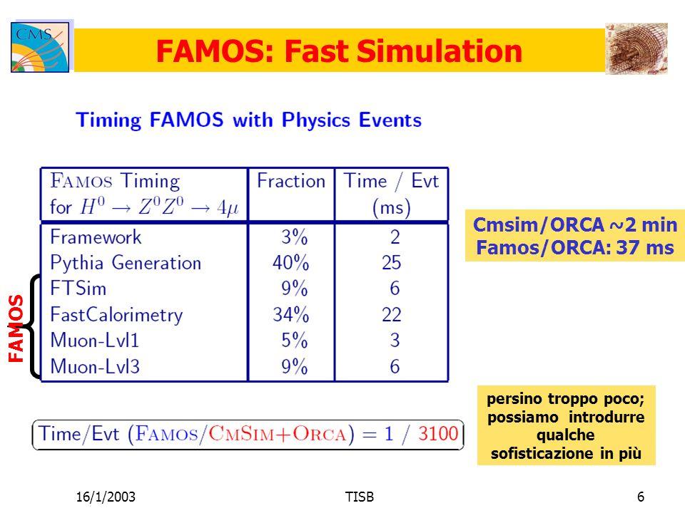 16/1/2003TISB7 FAMOS per il Tracker Quello che genericamente servirebbe è: simulazione dellefficienza di tracking in vari scenari (single particle, jet, ecc ecc) simulazione delle risoluzioni in tutti i vari casi e in funzione di più roba possibile (eta, P, particle type, track density) già che ci siamo, simulazione non solo degli elementi diagonali della matrice di covarianza del tracking, ma anche delle correlazioni Si può andare oltre: vertici con FAMOS; stessi problemi.