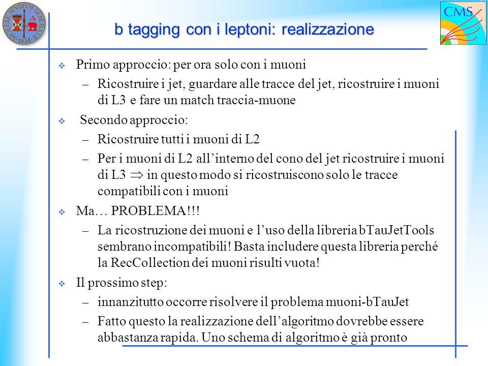 b tagging con i leptoni: realizzazione Primo approccio: per ora solo con i muoni – Ricostruire i jet, guardare alle tracce del jet, ricostruire i muon