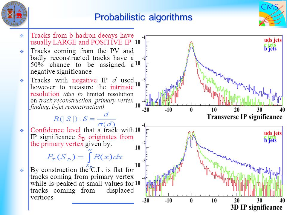 Probabilistic algorithms Tracks from b hadron decays have usually LARGE and POSITIVE IP Tracks coming from the PV and badly reconstructed tracks have a 50% chance to be assigned a negative significance Tracks with negative IP d used however to measure the intrinsic resolution (due to limited resolution on track reconstruction, primary vertex finding, b-jet reconstruction) Confidence level that a track with IP significance S D originates from the primary vertex given by: By construction the C.L.