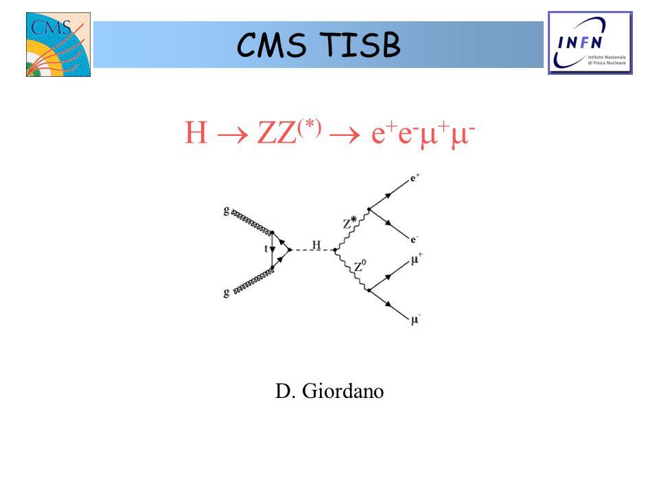 H ZZ (*) e + e - + - D. Giordano CMS TISB