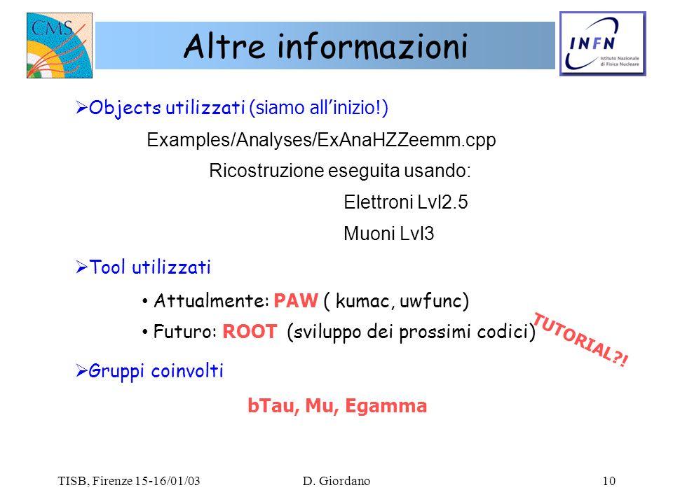 TISB, Firenze 15-16/01/03D. Giordano10 Altre informazioni Objects utilizzati (siamo allinizio!) Examples/Analyses/ExAnaHZZeemm.cpp Ricostruzione esegu