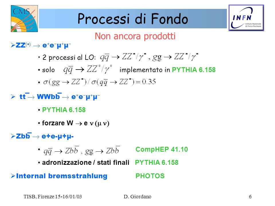 TISB, Firenze 15-16/01/03D. Giordano6 ZZ e e µ µ 2 processi al LO: solo implementato in PYTHIA 6.158 tt WWbb e e µ µ PYTHIA 6.158 forzare W e Zbb e+e-