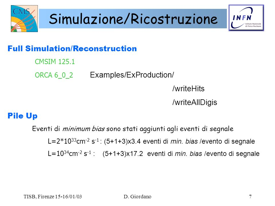 TISB, Firenze 15-16/01/03D. Giordano7 Simulazione/Ricostruzione Full Simulation/Reconstruction CMSIM 125.1 ORCA 6_0_2 Examples/ExProduction/ /writeHit