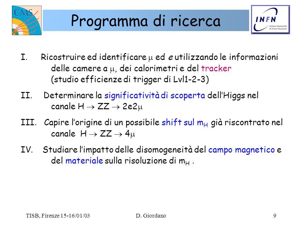 TISB, Firenze 15-16/01/03D. Giordano9 Programma di ricerca I. Ricostruire ed identificare ed e utilizzando le informazioni delle camere a, dei calorim