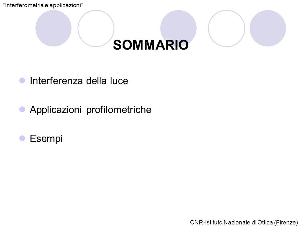 CNR-Istituto Nazionale di Ottica (Firenze) SOMMARIO Interferenza della luce Applicazioni profilometriche Esempi Interferometria e applicazioni