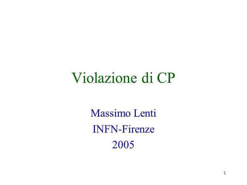 1 Violazione di CP Massimo Lenti INFN-Firenze 2005