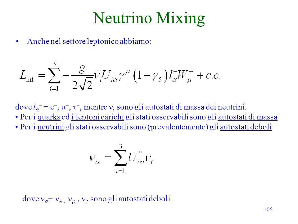 105 Neutrino Mixing Anche nel settore leptonico abbiamo: dove l e mentre i sono gli autostati di massa dei neutrini. Per i quarks ed i leptoni carichi