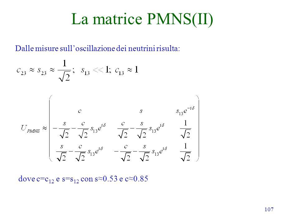 107 La matrice PMNS(II) Dalle misure sulloscillazione dei neutrini risulta: dove c=c 12 e s=s 12 con s0.53 e c0.85