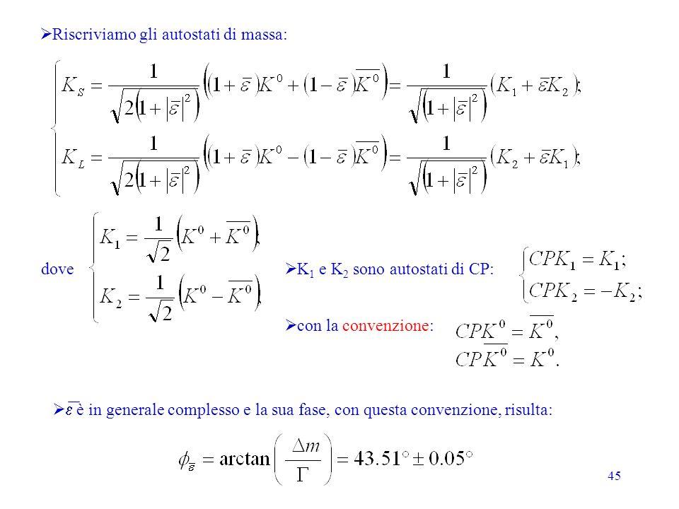 45 Riscriviamo gli autostati di massa: dove K 1 e K 2 sono autostati di CP: con la convenzione: è in generale complesso e la sua fase, con questa conv