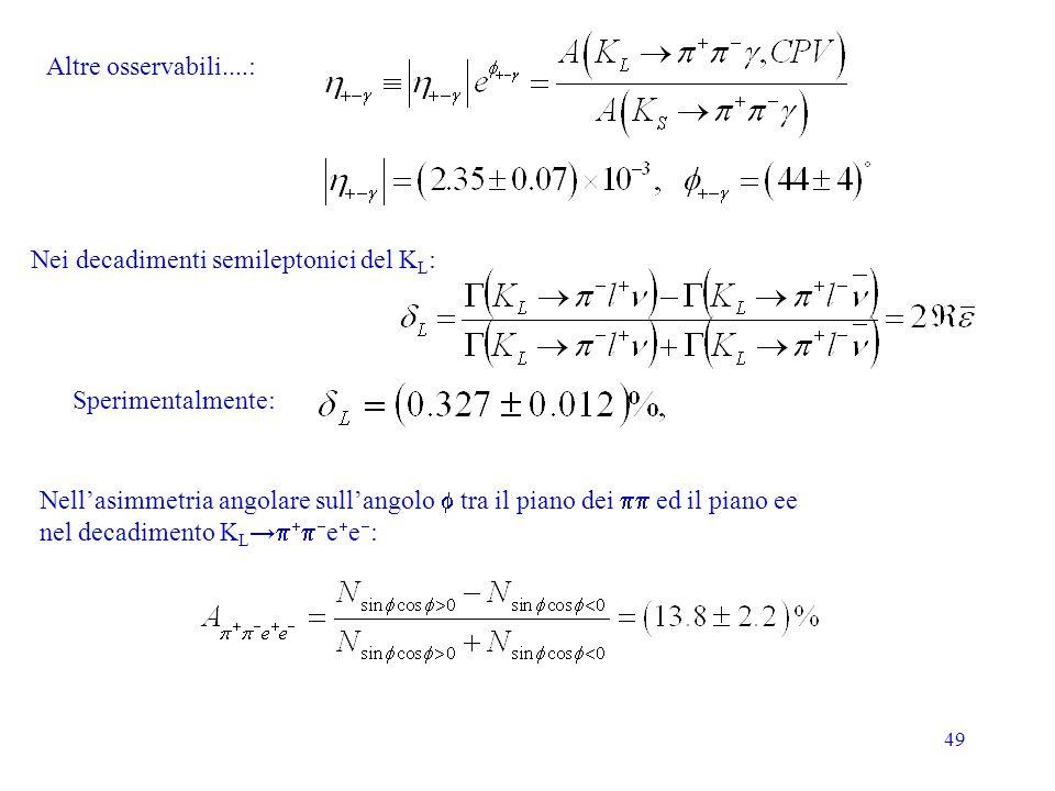 49 Altre osservabili....: Nellasimmetria angolare sullangolo tra il piano dei ed il piano ee nel decadimento K L e e : Sperimentalmente: Nei decadimen
