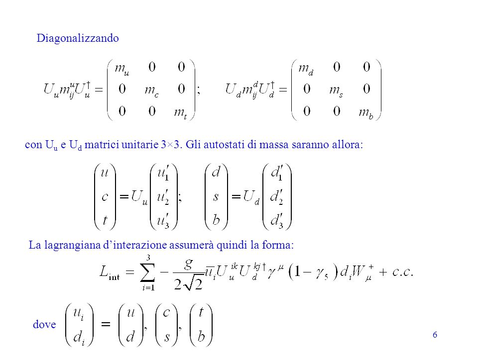 7 La matrice CKM Sperimentalmente sono osservabili le masse m u, m c, m t, m d, m s, m b e la matrice unitaria: I moduli degli elementi della V CKM si possono misurare da larghezze parziali di decadimento o da sezioni durto (nel seguito la fonte è PDG2004 http://pdg.lbl.gov/):