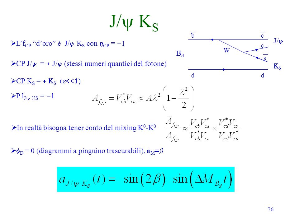 76 J/ S Lf CP doro è J/ S con CP = 1 CP J/ = J/ (stessi numeri quantici del fotone) CP S = S P l J/ S = 1 BdBd dd bc W c s S J/ D = 0 (diagrammi a pin