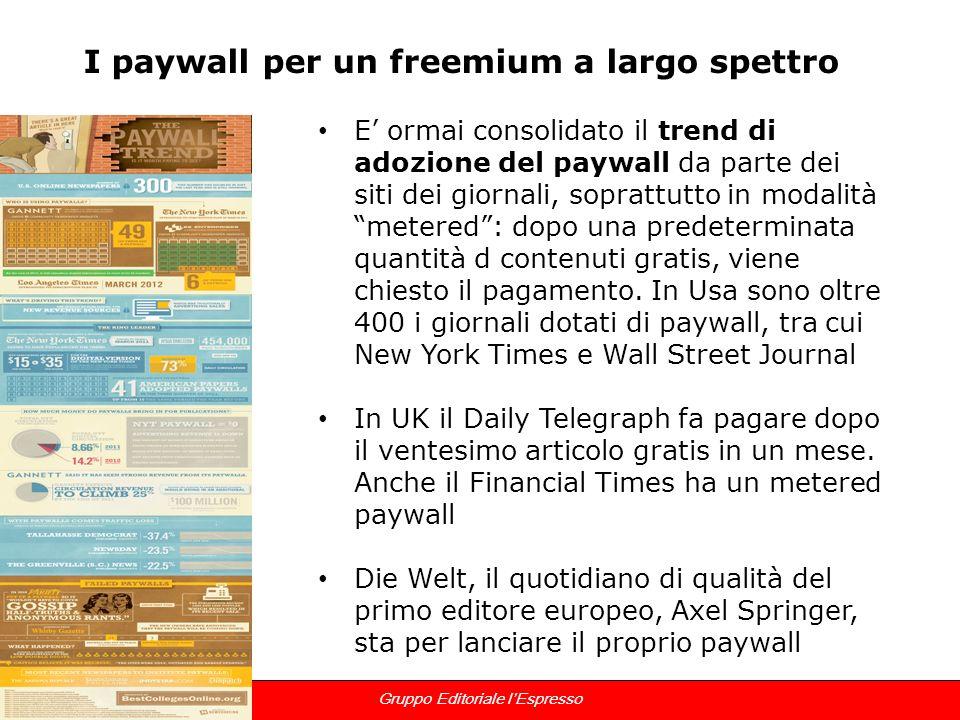 12 Gruppo Editoriale lEspresso I paywall per un freemium a largo spettro E ormai consolidato il trend di adozione del paywall da parte dei siti dei gi