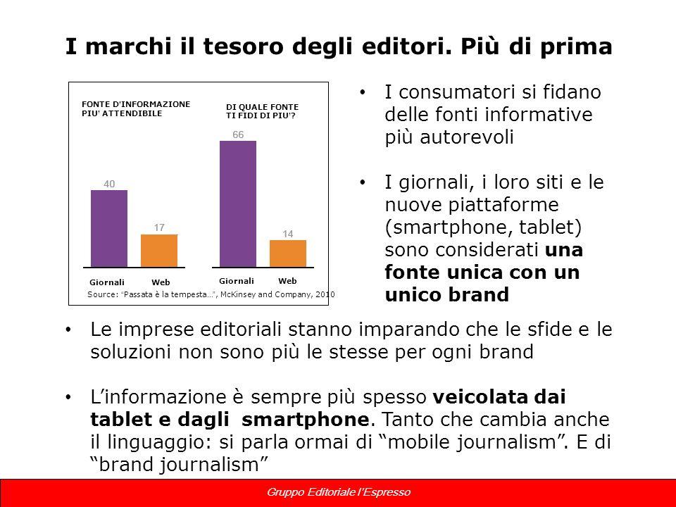 13 Gruppo Editoriale lEspresso I marchi il tesoro degli editori. Più di prima I consumatori si fidano delle fonti informative più autorevoli I giornal