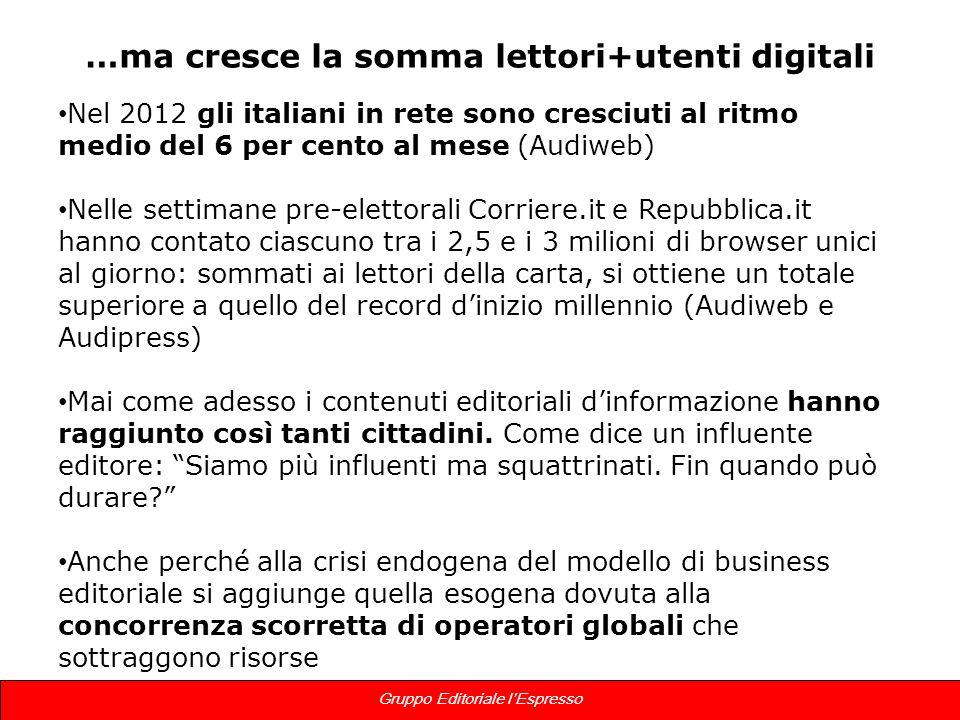 6 Gruppo Editoriale lEspresso …ma cresce la somma lettori+utenti digitali Nel 2012 gli italiani in rete sono cresciuti al ritmo medio del 6 per cento