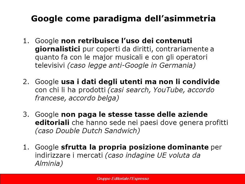 9 Gruppo Editoriale lEspresso Google come paradigma dellasimmetria 1.Google non retribuisce luso dei contenuti giornalistici pur coperti da diritti, c