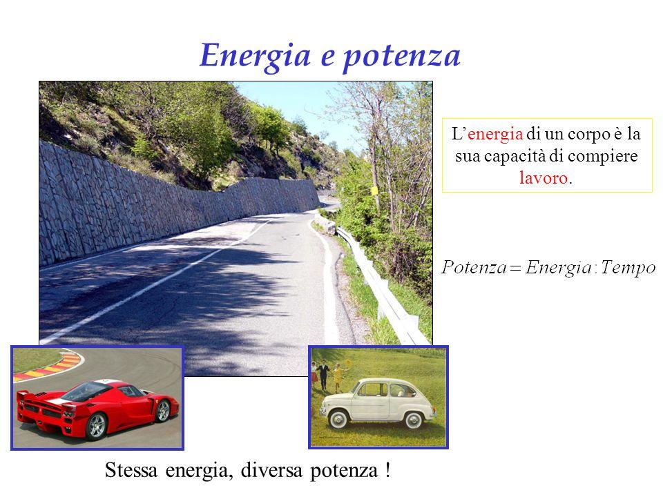 Energia e potenza Stessa energia, diversa potenza .
