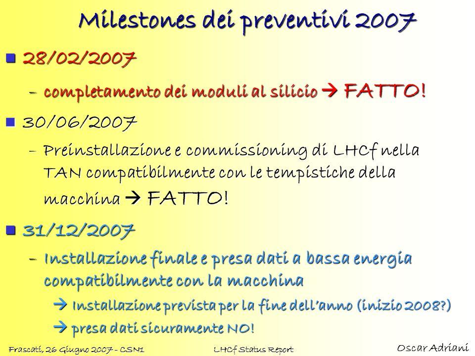 Oscar Adriani Frascati, 26 Giugno 2007 - CSN1 LHCf Status Report Milestones dei preventivi 2007 28/02/2007 28/02/2007 –completamento dei moduli al silicio FATTO.