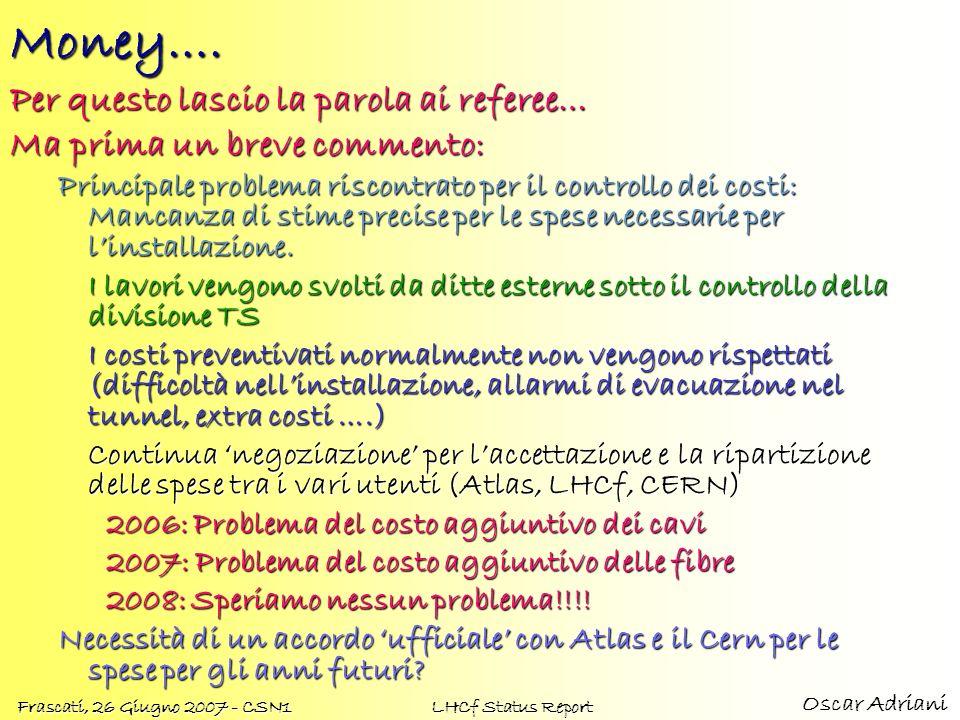 Oscar Adriani Frascati, 26 Giugno 2007 - CSN1 LHCf Status ReportMoney…. Per questo lascio la parola ai referee… Ma prima un breve commento: Principale