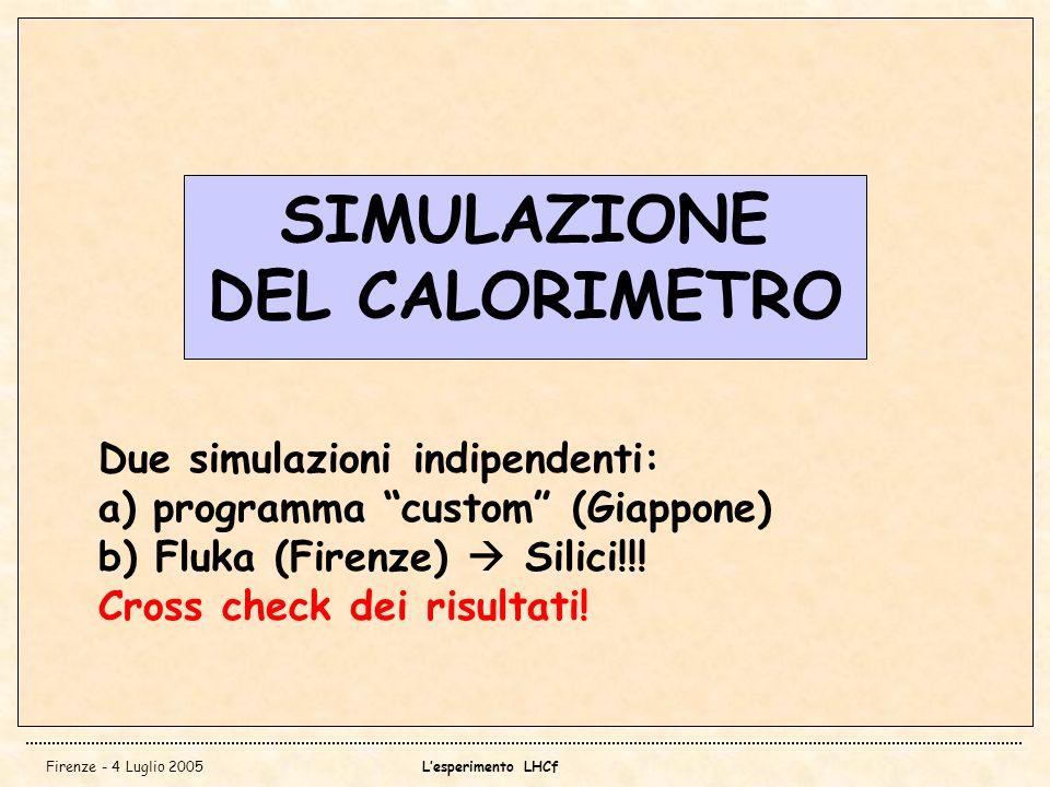 Firenze - 4 Luglio 2005Lesperimento LHCf SIMULAZIONE DEL CALORIMETRO Due simulazioni indipendenti: a) programma custom (Giappone) b) Fluka (Firenze) S