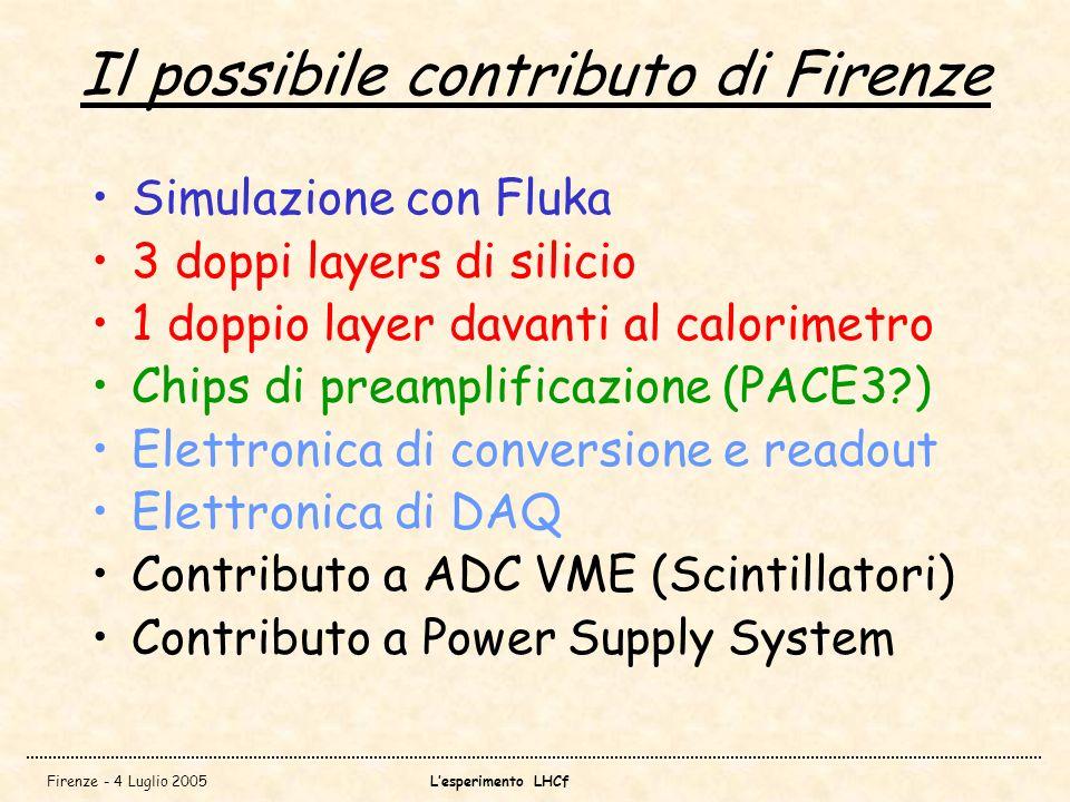 Firenze - 4 Luglio 2005Lesperimento LHCf Il possibile contributo di Firenze Simulazione con Fluka 3 doppi layers di silicio 1 doppio layer davanti al