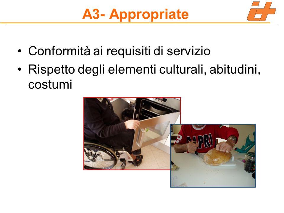 A3- Appropriate Conformità ai requisiti di servizio Rispetto degli elementi culturali, abitudini, costumi