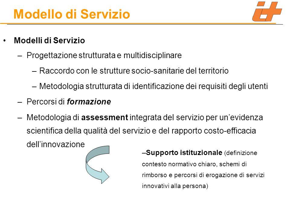 Modelli di Servizio –Progettazione strutturata e multidisciplinare –Raccordo con le strutture socio-sanitarie del territorio –Metodologia strutturata