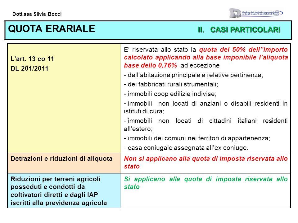 Dott.ssa Silvia Bocci II.CASI PARTICOLARI QUOTA ERARIALE II.