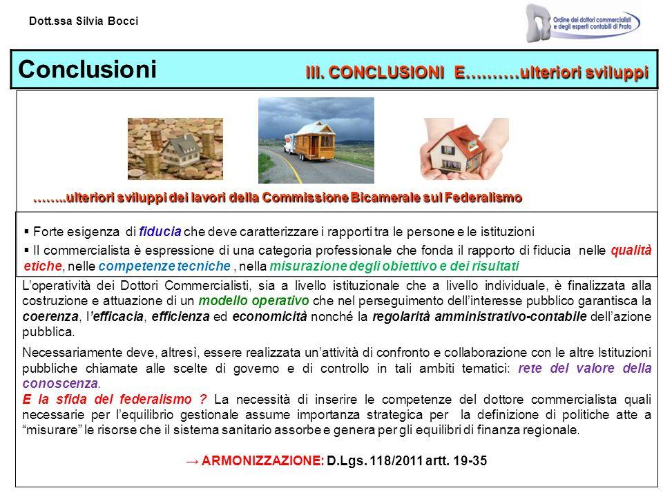 Dott.ssa Silvia Bocci III.CONCLUSIONI E….……ulteriori sviluppi Conclusioni III.