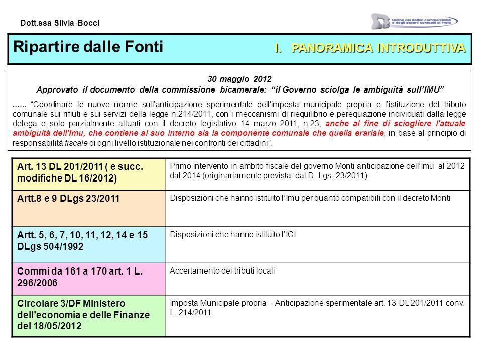 Dott.ssa Silvia Bocci I.PANORAMICA INTRODUTTIVA Ripartire dalle Fonti I.
