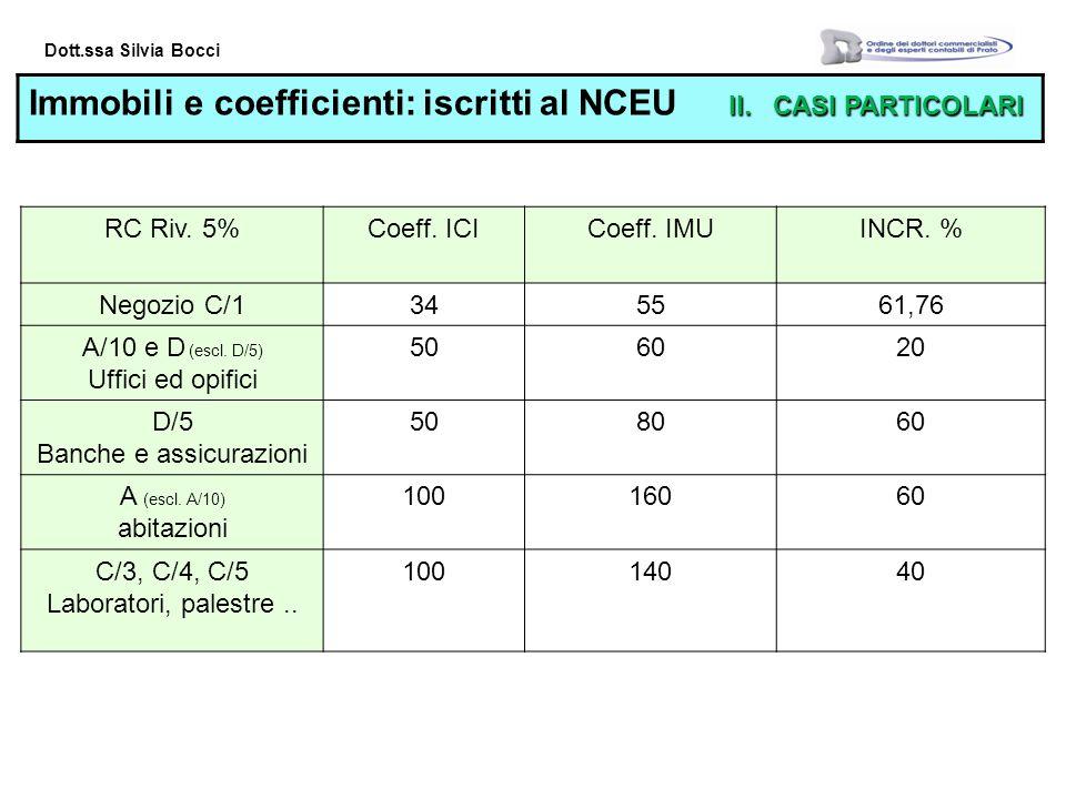 Dott.ssa Silvia Bocci II.CASI PARTICOLARI Immobili e coefficienti: iscritti al NCEU II.