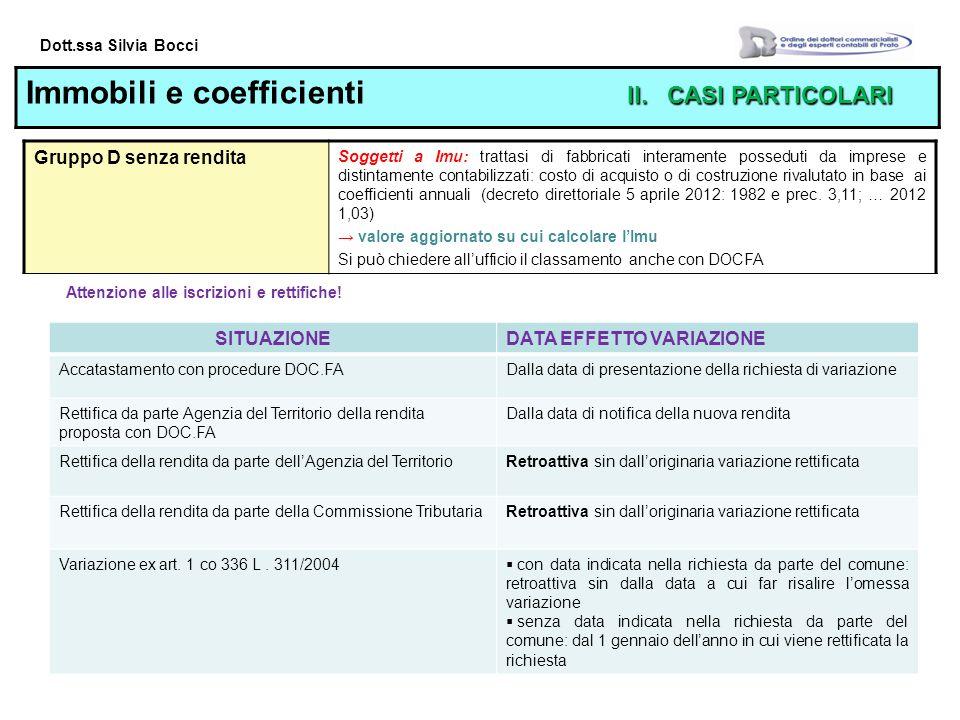 Dott.ssa Silvia Bocci II.CASI PARTICOLARI Immobili e coefficienti II.