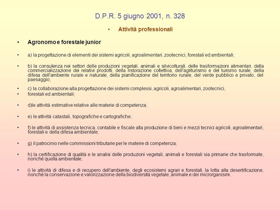 D.P.R. 5 giugno 2001, n. 328 Attività professionali Agronomo e forestale junior a) la progettazione di elementi dei sistemi agricoli, agroalimentari,