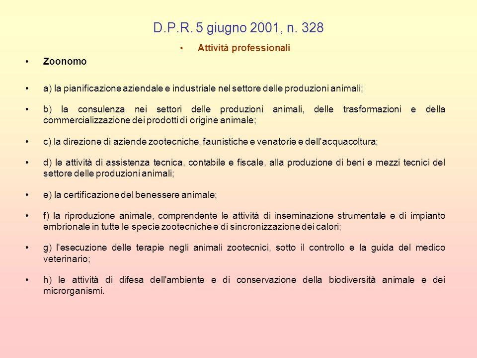 D.P.R. 5 giugno 2001, n. 328 Attività professionali Zoonomo a) la pianificazione aziendale e industriale nel settore delle produzioni animali; b) la c