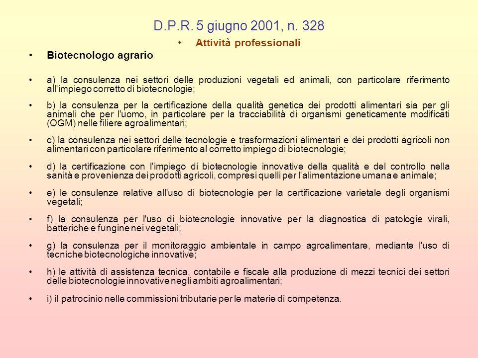 D.P.R. 5 giugno 2001, n. 328 Attività professionali Biotecnologo agrario a) la consulenza nei settori delle produzioni vegetali ed animali, con partic