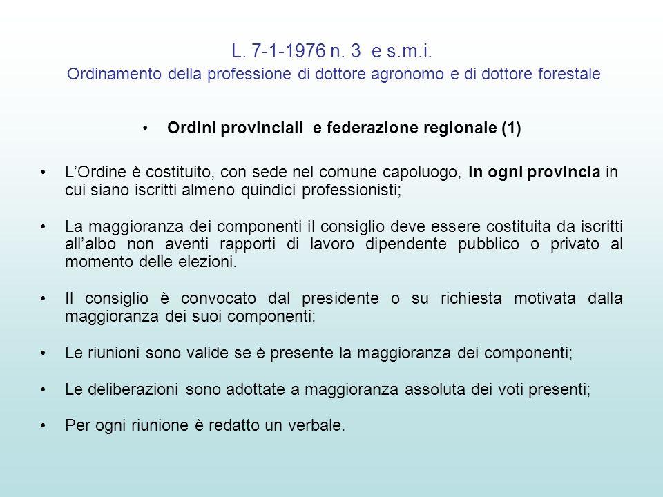 L. 7-1-1976 n. 3 e s.m.i. Ordinamento della professione di dottore agronomo e di dottore forestale Ordini provinciali e federazione regionale (1) LOrd