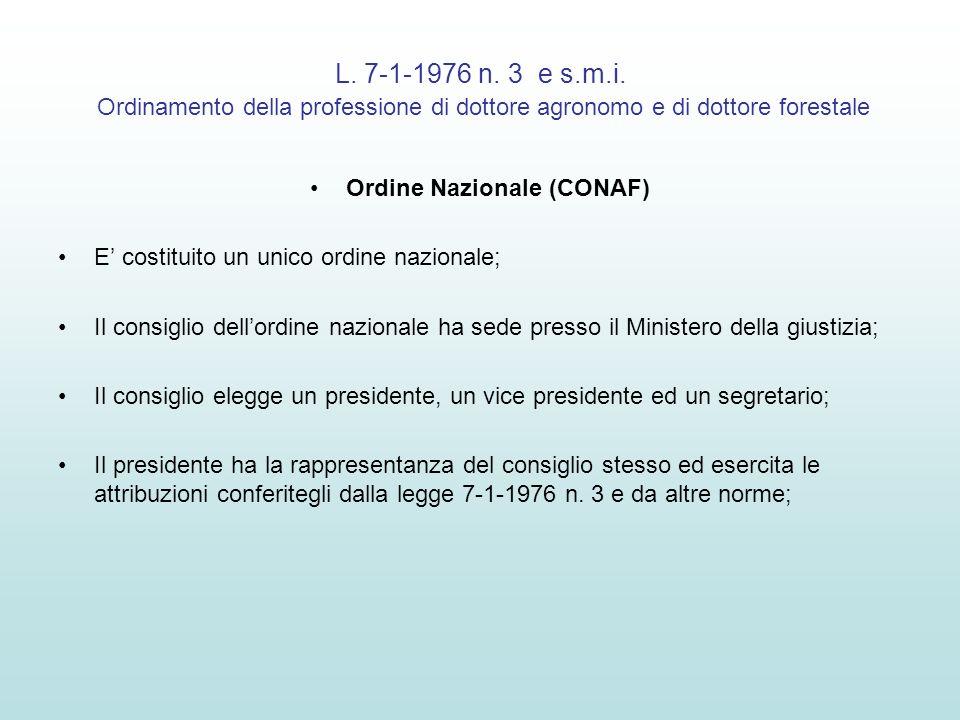L. 7-1-1976 n. 3 e s.m.i. Ordinamento della professione di dottore agronomo e di dottore forestale Ordine Nazionale (CONAF) E costituito un unico ordi