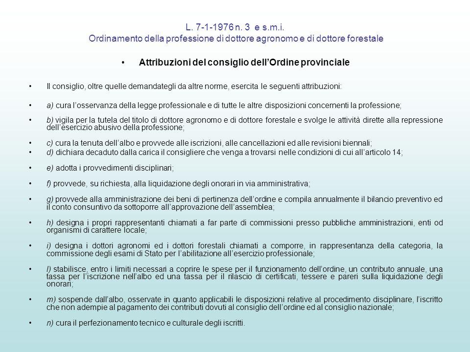 L. 7-1-1976 n. 3 e s.m.i. Ordinamento della professione di dottore agronomo e di dottore forestale Attribuzioni del consiglio dellOrdine provinciale I
