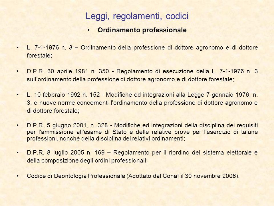 Leggi, regolamenti, codici Ordinamento professionale L. 7-1-1976 n. 3 – Ordinamento della professione di dottore agronomo e di dottore forestale; D.P.